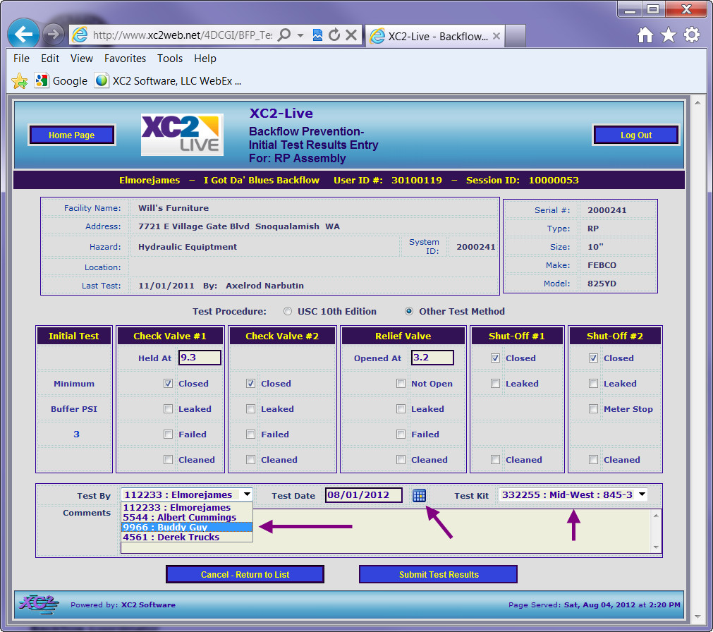 Xc2 Software Entering Backflow Test Results On The Web